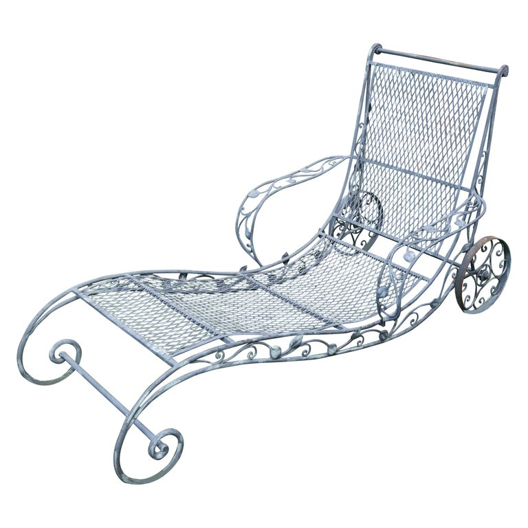 Classic High Quality Wrought Iron Garden Chaise Lounge by Salterini