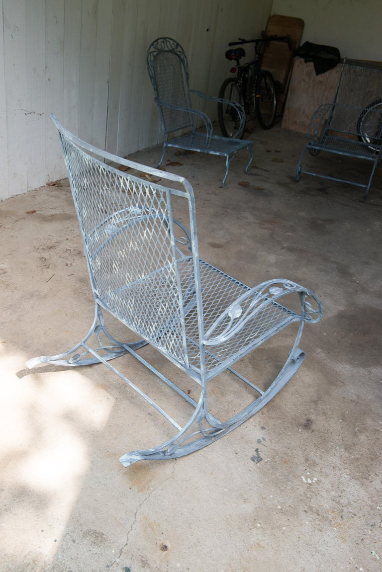 Classic High Quality Wrought Iron Rocking Chair by Salterini 9