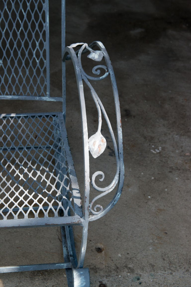 Classic High Quality Wrought Iron Rocking Chair by Salterini In Good Condition In Stamford, CT