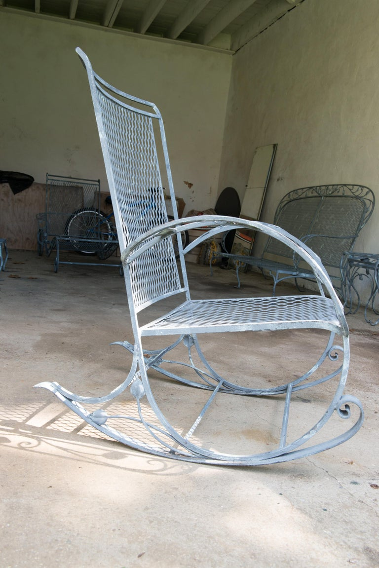 Classic High Quality Wrought Iron Rocking Chair by Salterini 2