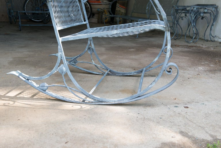 Classic High Quality Wrought Iron Rocking Chair by Salterini 3