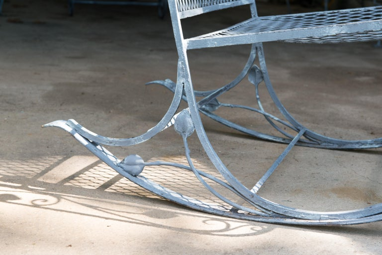 Classic High Quality Wrought Iron Rocking Chair by Salterini 4