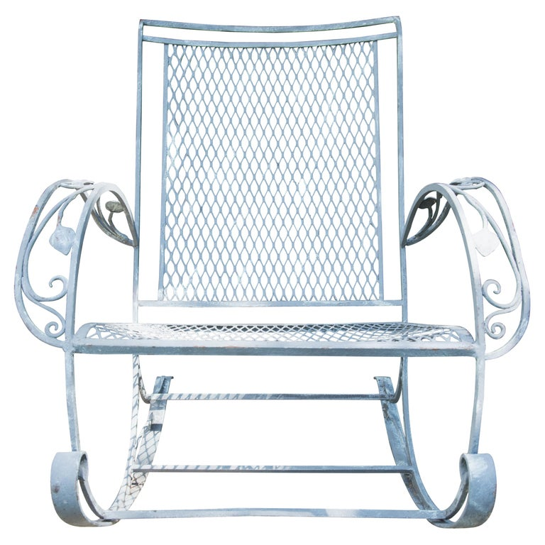 Classic High Quality Wrought Iron Rocking Chair by Salterini
