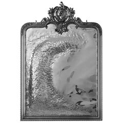 Classic Imaginarium Wall Mirror in Black Carved Wood and Polished Inox