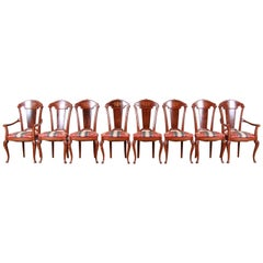 Classic Italian Baroque Carved and Inlaid Dining Chairs, Set of Eight