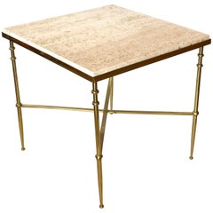 Classic Italian Brass & Travertine Square Cocktail Table
