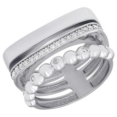 Classic Italian Style Black and White Diamonds White Gold Statement Ring for Her