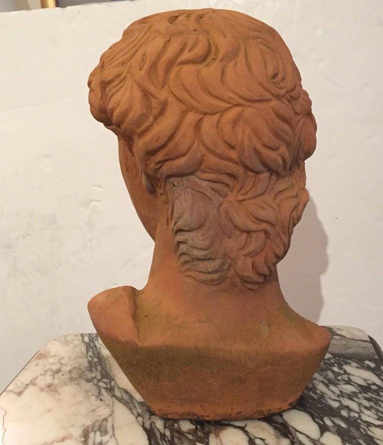 Neoclassical Classic Italian Terracotta Bust of David For Sale