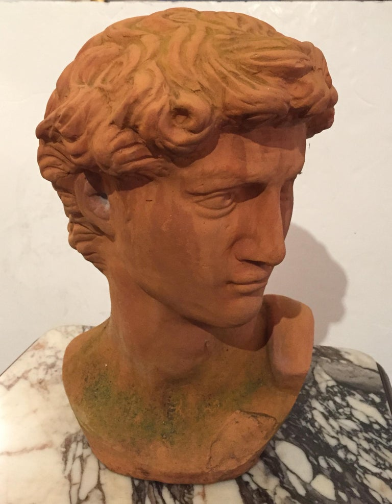 Classic Italian Terracotta Bust of David In Excellent Condition For Sale In Hopewell, NJ
