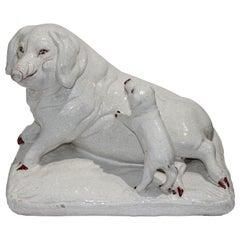 Classic Italian Terracotta Cucina Sculpture Pig and Piglet Crackle Glaze