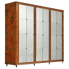 Classic Italian Wardrobe in Oak with Mirrored Doors