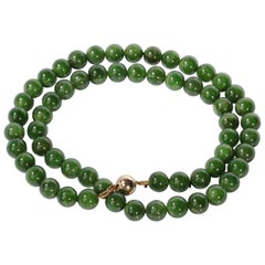 Classic Jade Necklace of Certified Natural Nephrite Beads