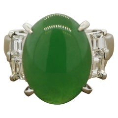 Classic Jadeite Jade Diamond Platinum Ring