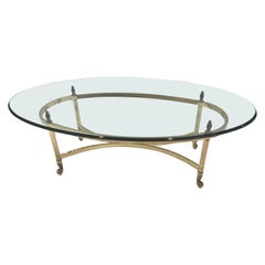 Classic Labarge Brass and Oval Glass Coffee Table