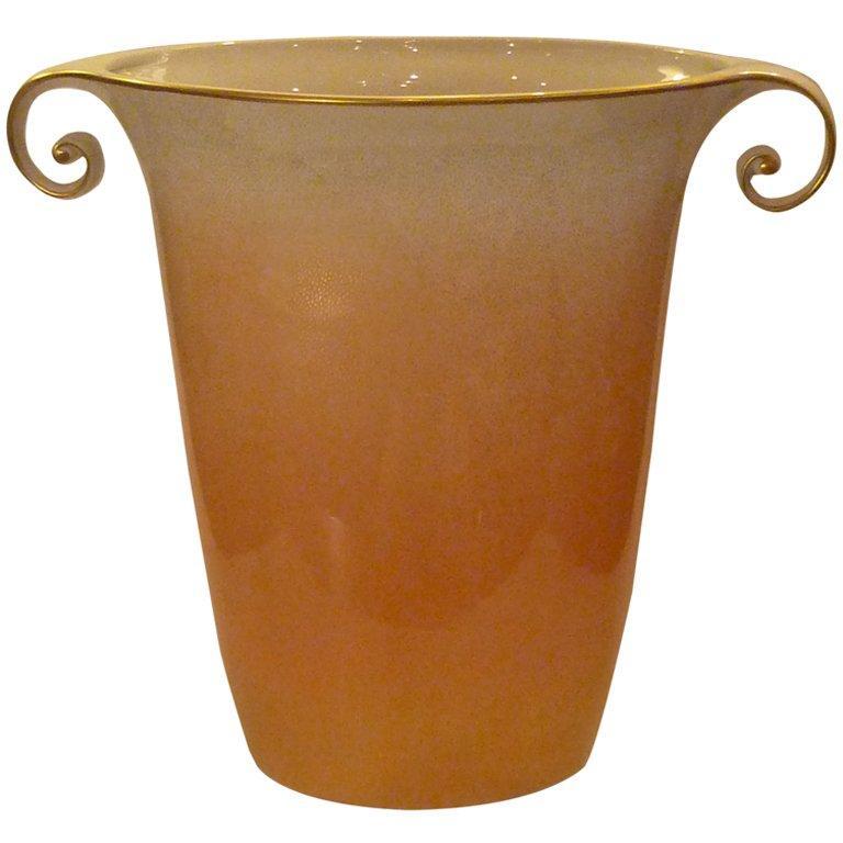 Classic Large 1980s Sculptural Mangani Porcelain Vase Italy