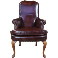 Classic Leather Mahogany Queen Anne Nailhead Accent Armchair Club Desk Library