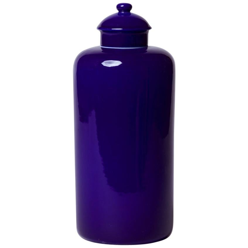Classic Lidded Porcelain Urn in Dark Blue