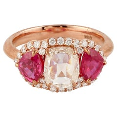 Classic Looking 3 Stone Ruby and Diamond Ring in 18K Rose Gold
