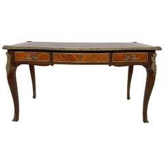 "Classic Louis XV Style ""Bureau Plat"" Writing Desk with Brass Ormolu, circa 1950s"