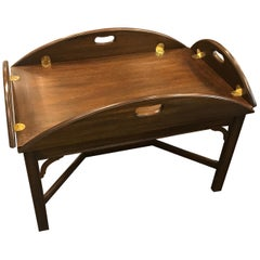 Classic Mahogany and Brass Butlers Table