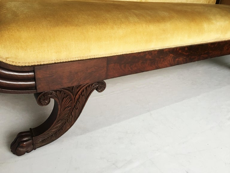 20th Century Classic Mahogany Grecian Sofa in Yellow For Sale
