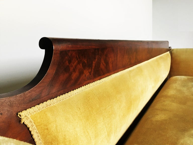 Classic Mahogany Grecian Sofa in Yellow For Sale 1