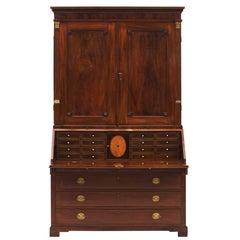 Classic Mahogany Slant Front Bureau Bookcase or Secretary from Altona