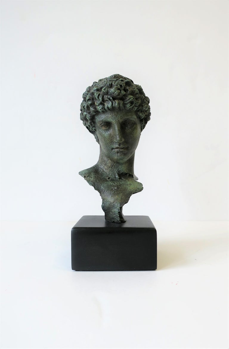 Classical Roman Classic Male Bust Sculpture on Black Base For Sale