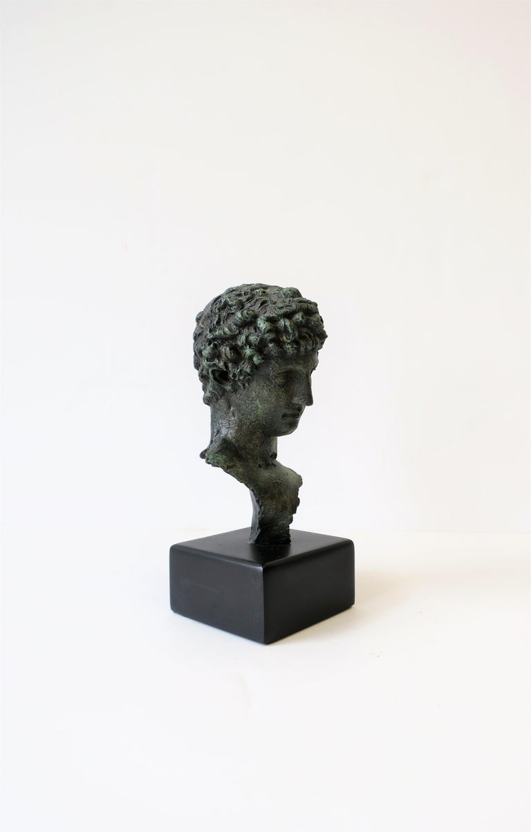 Resin Classic Male Bust Sculpture on Black Base For Sale