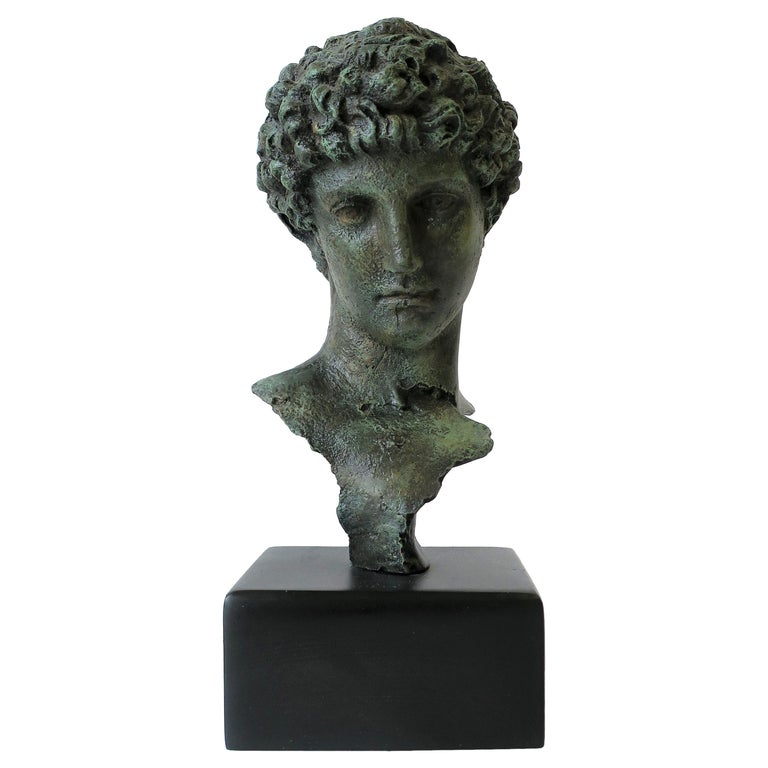 Classic Male Bust Sculpture on Black Base For Sale
