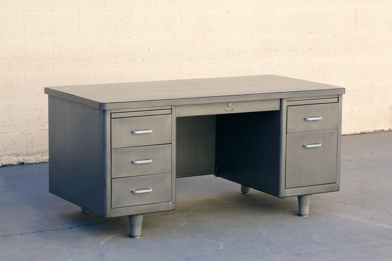 Brushed Classic McDowell Craig Tanker Desk Refinished in Natural Steel For Sale