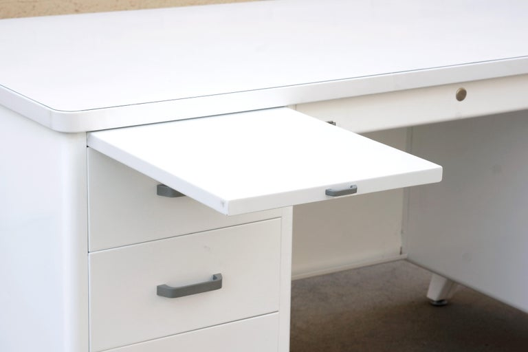 Classic McDowell Craig Tanker Desk Refinished in White, Custom Order For Sale 2