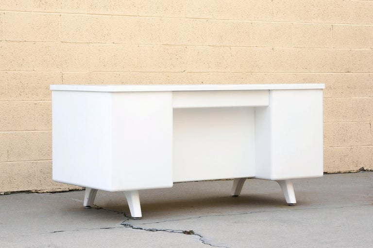 Mid-20th Century Classic McDowell Craig Tanker Desk Refinished in White, Custom Order For Sale