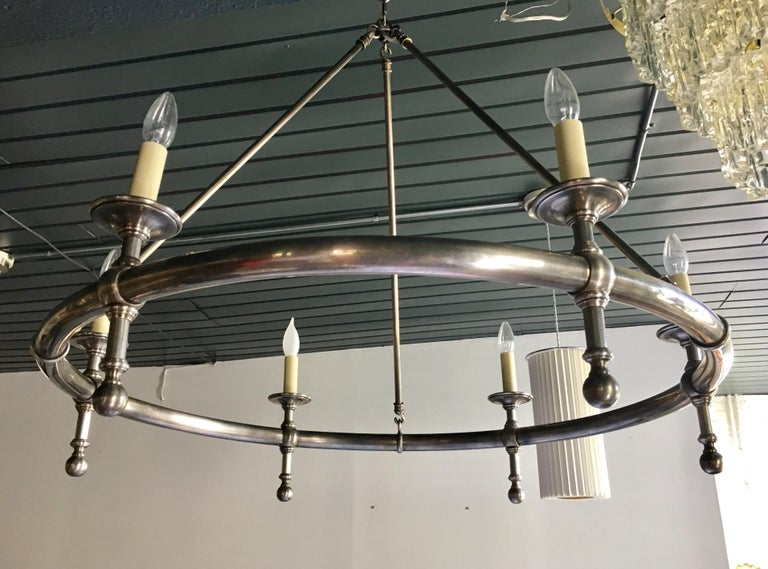 Classic Metal Ring Chandelier by Chapman In Good Condition For Sale In Lambertville, NJ