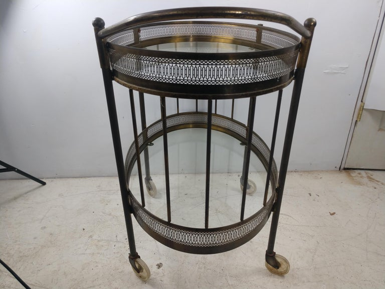 Metalwork Classic Mid Century Brass Oval Bar Cart, circa 1954 For Sale