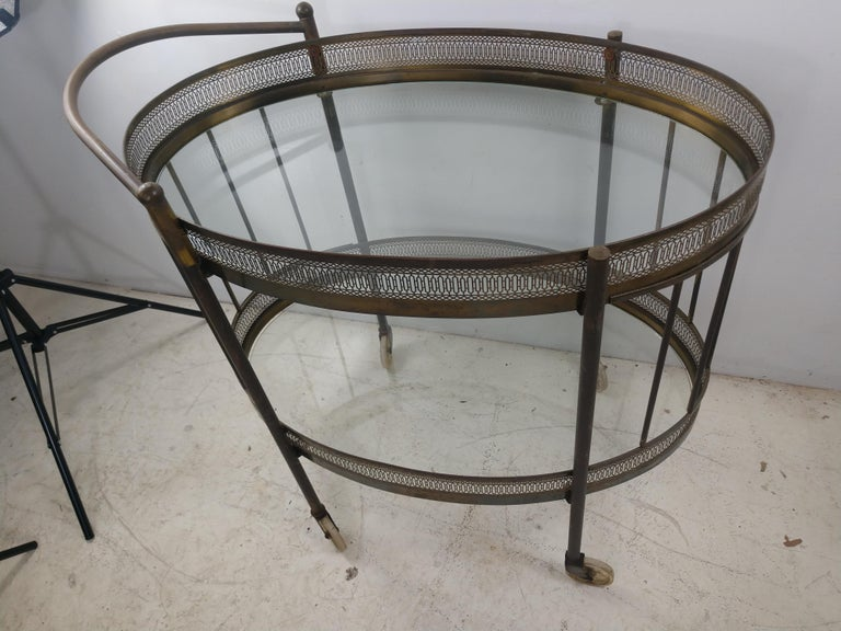 Classic Mid Century Brass Oval Bar Cart, circa 1954 For Sale 1