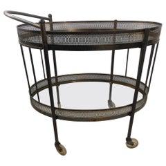 Classic Mid Century Brass Oval Bar Cart, circa 1954