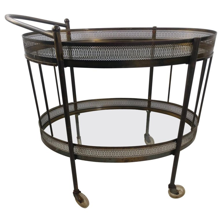 Classic Mid Century Brass Oval Bar Cart, circa 1954 For Sale