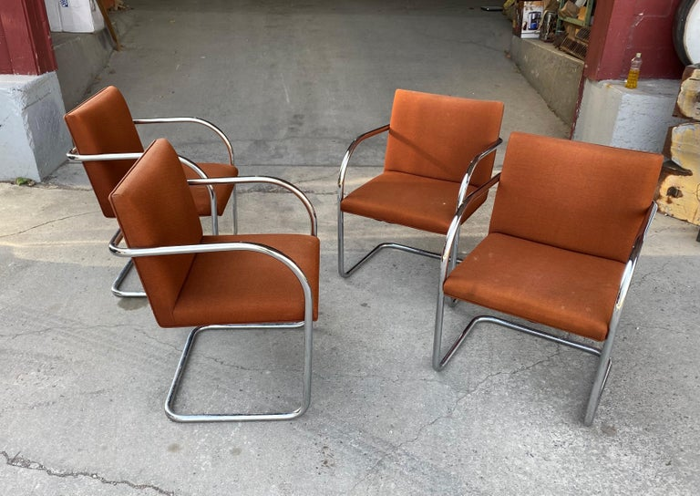 Bauhaus Classic Midcentury Brno Chairs by Mies van der Rohe for Gordon International For Sale