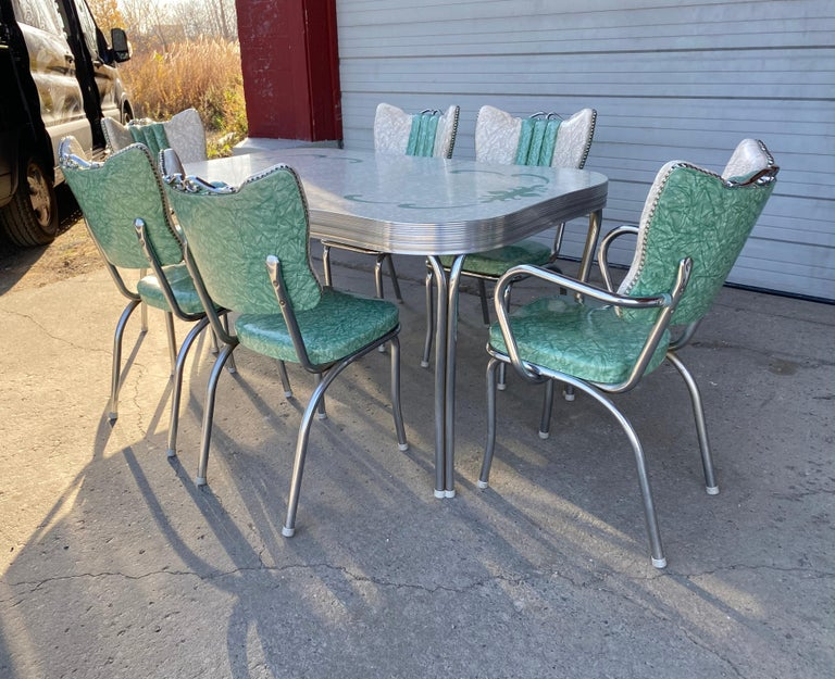 American Classic Mid-Century Modern Chrome Dinette / Kitchen Set with 2 Captains Chairs For Sale