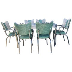 Classic Mid-Century Modern Chrome Dinette / Kitchen Set with 2 Captains Chairs