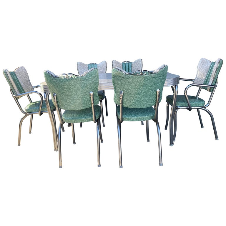 Classic Mid-Century Modern Chrome Dinette / Kitchen Set with 2 Captains Chairs For Sale
