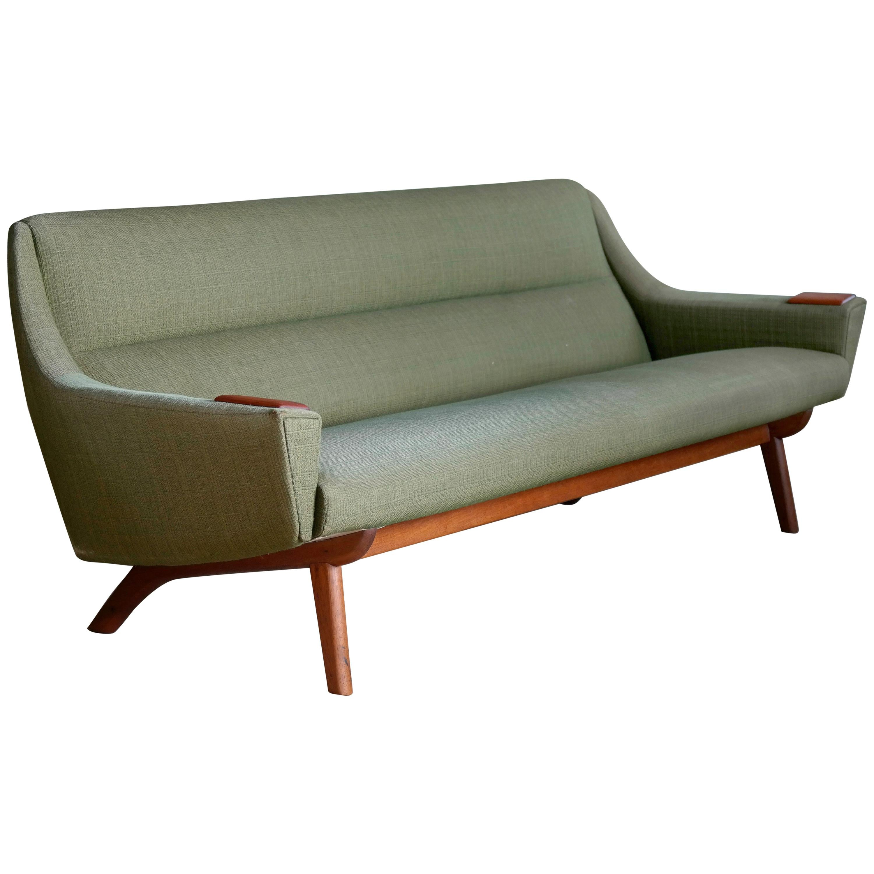 Bon Classic Mid Century Modern Danish 1950s Sofa In Wool And Teak By NM Horsens  At 1stdibs