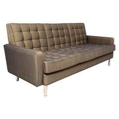 Classic Mid-Century Modern Florence Knoll Style Tufted Chrome Sofa, 1950s, USA