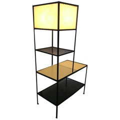 Classic Mid-Century Modern Iron and Laminate Shelf / Lamp by Freda Diamond