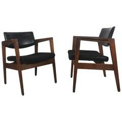 Classic Mid-Century Modern Lounge Chairs, Walnut Frames, by Gunlocke, Jens Risom