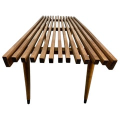 Classic Mid-Century Modern Slat Bench/ Table with Tapered Legs, 1960's