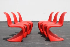 Classic Mid-Century Modern Verner Panton Chair in Red - Vitra Production