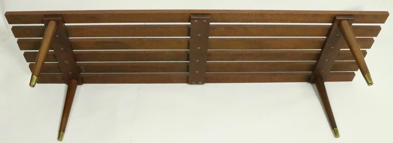 Classic Mid Century Slat Bench Table For Sale 3