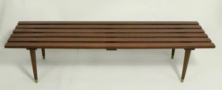 Classic midcentury slat bench, coffee table. In very good, original condition, clean and ready to use.